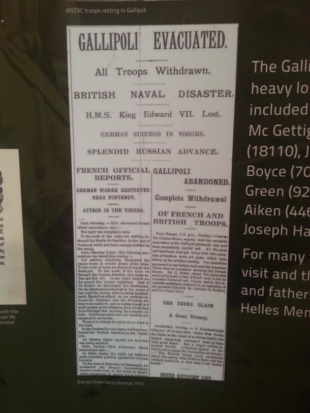 Derry Gazetesi Çanakkale Savaşı ile ilgili bir haber, 1915